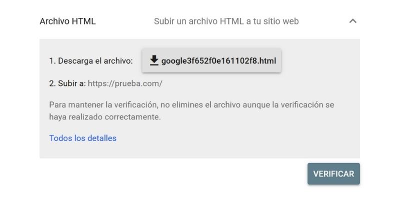 Verificar propiedad con archivo html