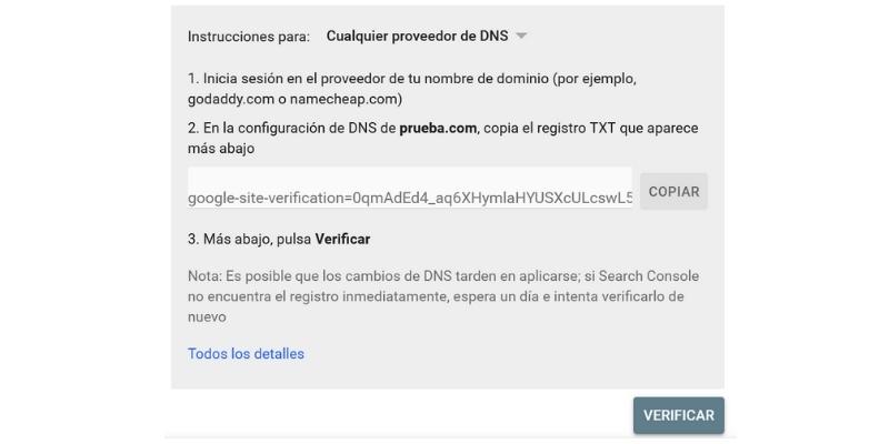 Verificar propiedad con proveedor nombres de dominio