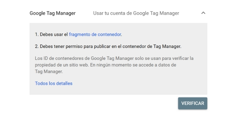 Verificar propiedad con Google Tag Manager
