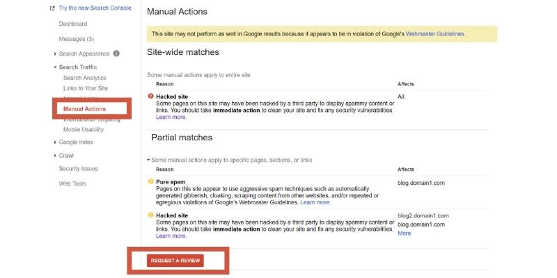 Acciones manuales Google Search Console